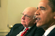 President Barack Obama meets with Paul Volcker, Chairman Economic Recovery Board, in the Oval Office of the White House on March 13, 2009.  photograph by Dennis Brack
