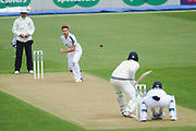 Liam Dawson of Hampshire bowling to Sam Robson of Middlesex during the Specsavers County Champ Div 1 match between Hampshire County Cricket Club and Middlesex County Cricket Club at the Ageas Bowl, Southampton, United Kingdom on 14 April 2017. Photo by David Vokes.