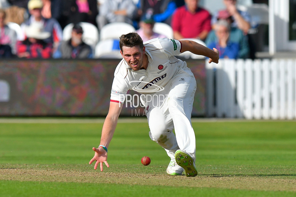 Jamie Overton of Somerset during the opening day of the Specsavers County Champ Div 1 match between Somerset County Cricket Club and Surrey County Cricket Club at the Cooper Associates County Ground, Taunton, United Kingdom on 18 September 2018.