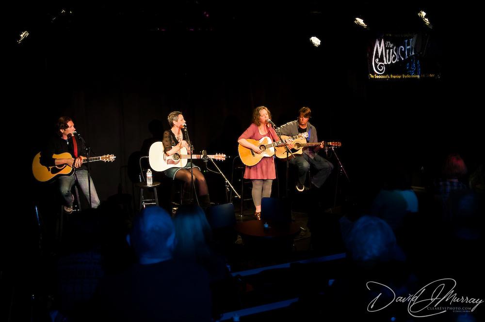 Dan Walker, Liz Frame, and Deidre Randall perform at the Round Robin portion of the Music Hall's Singer Songwriter Festival, in Portsmouth, NH April, 2012