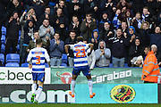 Reading's Danny Williams celebrates his goal in front of Reading fans during the Sky Bet Championship match between Reading and Bolton Wanderers at the Madejski Stadium, Reading, England on 21 November 2015. Photo by Mark Davies.