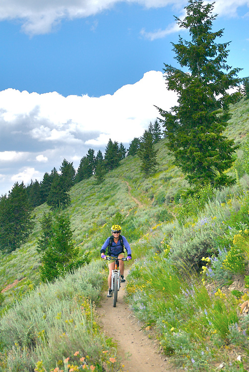 IDAHO. Sun Valley. Mt. Baldy. Woman Mountain Biking. MR