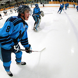 AURORA, ON - Jan 18 : Ontario Junior Hockey League Game Action between the St. Michael's Buzzers and the Aurora Tigers, Ian Edmondson #8 of the St.Michael's Buzzers Hockey Club calls for the puck during the pre-game warm-up.<br /> (Photo by Brian Watts / OJHL Images)