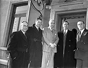 """01/02/1953<br /> 02/01/1953<br /> 01 February 1953<br /> Cork Athletic Football Club directors with Horatio """"Raich"""" Carter (3rd from left). (l-r): J.J. O'Sullivan, Vice chairman; D. Fitzgibbon, Director;  Mr. Carter; D. Forde, Secretary and Mr. Alec Crean, Representative of Cork Athletic Football Club in Dublin."""