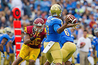 17 October 2012: Quarterback (17) Brett Hundley of the UCLA Bruins passes the ball against the USC Trojans during the first half of UCLA's 38-28 victory over USC at the Rose Bowl in Pasadena, CA.