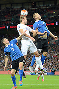 England striker Harry Kane wins a header during the Group E UEFA European 2016 Qualifier match between England and Estonia at Wembley Stadium, London, England on 9 October 2015. Photo by Alan Franklin.
