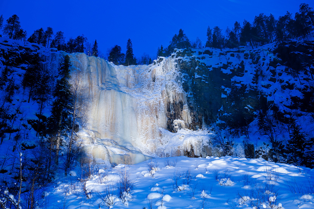 Frozen waterfall in Korouoma gorge, Posio, Finland