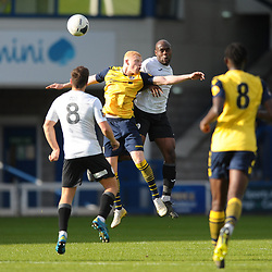 TELFORD COPYRIGHT MIKE SHERIDAN Theo Streete of Telford battles for a header with Gabriel Johnson during the Vanarama National League Conference North fixture between AFC Telford United and Guiseley on Saturday, October 19, 2019.<br /> <br /> Picture credit: Mike Sheridan/Ultrapress<br /> <br /> MS201920-026
