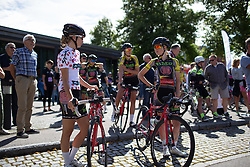 Cecilie Uttrup Ludwig (DEN) of  Team BMS Birn (L) chats to her team mate before the start of the 97,1 km second stage of the 2016 Ladies' Tour of Norway women's road cycling race on August 13, 2016 between Mysen and Sarpsborg, Norway. (Photo by Balint Hamvas/Velofocus)