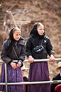 Amish girls during the Annual Mud Sale to support the Fire Department  in Gordonville, PA.