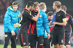 23.11.2011, BayArena, Leverkusen, Germany, UEFA CL, Gruppe E, Bayer 04 Leverkusen (GER) vs Chelsea FC (ENG), im Bild Eren Derdiyok (Leverkusen #19) (L) tröstet Stefan Kiessling (Leverkusen #11) // during the football match of UEFA Champions league, group E, between Bayer Leverkusen (GER) and FC Chelsea (ENG) at BayArena, Leverkusen, Germany on 2011/11/23.EXPA Pictures © 2011, PhotoCredit: EXPA/ nph/ Mueller..***** ATTENTION - OUT OF GER, CRO *****