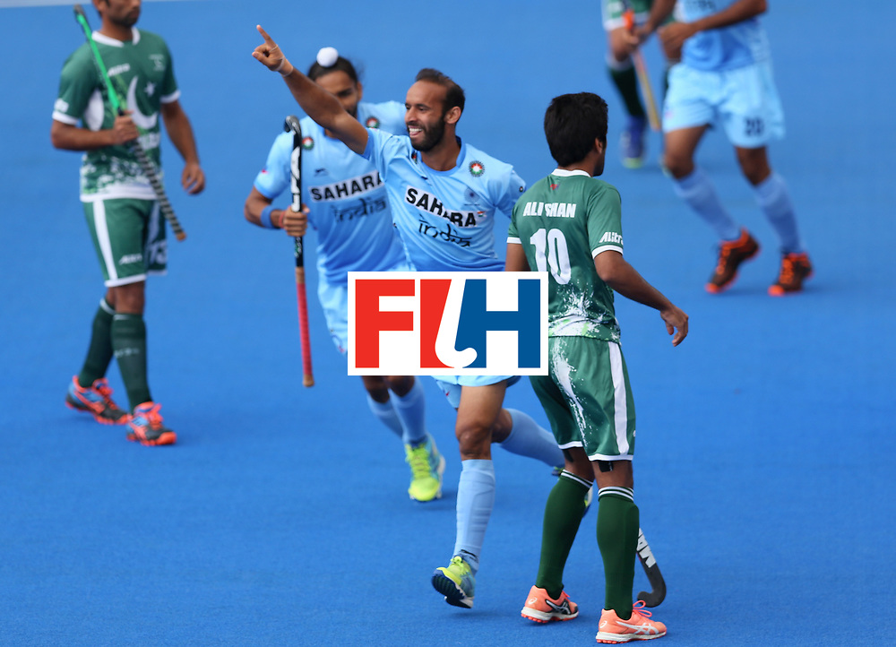 LONDON, ENGLAND - JUNE 24:  Ramandeep Singh of India celebrates scoring their teams first goal during the 5th-8th place match between Pakistan and India on day eight of the Hero Hockey World League Semi-Final at Lee Valley Hockey and Tennis Centre on June 24, 2017 in London, England.  (Photo by Steve Bardens/Getty Images)
