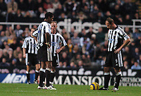 Credit: Back Page Images / Matthew Impey. Newcastle United v Fulham, FA Premiership, 7/11/2004. Newcastle players Alan Shearer, Patrick Kluivert and Nicky Butt wait for the Fulham players to stop celebrating after their 3rd goal.