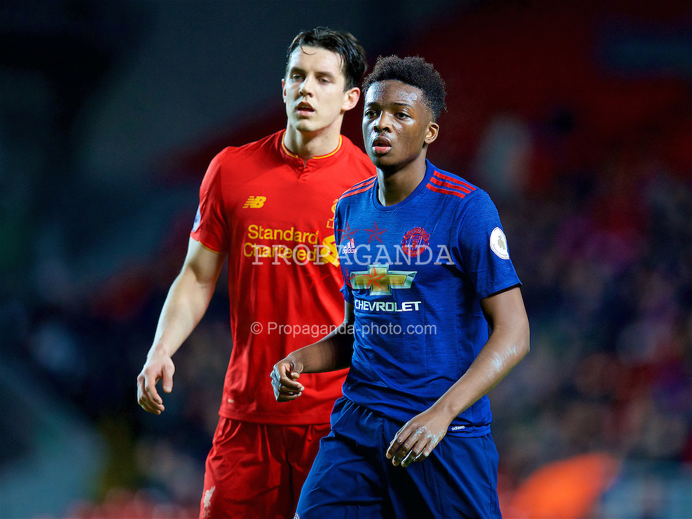 LIVERPOOL, ENGLAND - Monday, January 16, 2017: Manchester United's Matthew Willock in action against Liverpool during FA Premier League 2 Division 1 Under-23 match at Anfield. (Pic by David Rawcliffe/Propaganda)