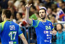 Mario Sostaric of Slovenia celebrates during handball match between National teams of Slovenia and Netherlands in Qualifications of 2020 Men's EHF EURO, on April 14, 2019, in Arena Zlatorog, Celje, Slovenia. Photo by Vid Ponikvar / Sportida