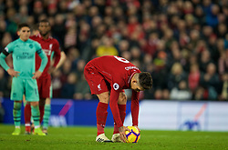 LIVERPOOL, ENGLAND - Saturday, December 29, 2018: Liverpool's Roberto Firmino prepares to take a penalty kick, to score the fifth goal and complete his hat-trick, during the FA Premier League match between Liverpool FC and Arsenal FC at Anfield. (Pic by David Rawcliffe/Propaganda)