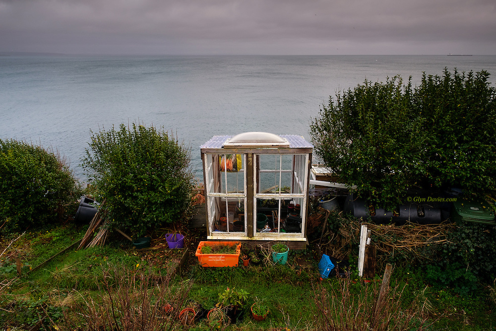 I found it peculiar to see several allotments right on a Cornish cliff edge. The plastic containers were a colourful contrast to the dreary weather of the afternoon.