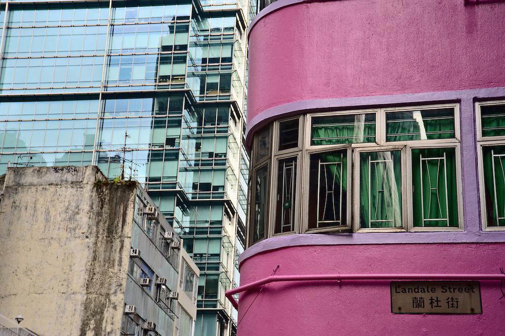 Old building painted magenta, Landale Street, Wan Chai, Hong Kong