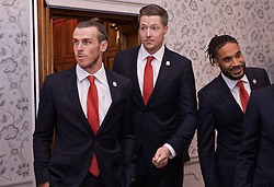 CARDIFF, WALES - Thursday, March 21, 2019: Wales' Gareth Bale, goalkeeper Wayne Hennessey and Ashley Williams during the Football Association of Wales Awards 2019 at the Hensol Castle. (Pic by David Rawcliffe/Propaganda)
