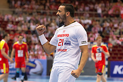 09.04.2016, Ergo Arena, Gdansk, POL, IHF Herren, Olympia Qualifikation, Mazedonien vs Tunesien, im Bild Oussama Boughanmi // during the IHF men's Olympic Games handball qualifier between Macedonia and Tunisia at the Ergo Arena in Gdansk, Poland on 2016/04/09. EXPA Pictures © 2016, PhotoCredit: EXPA/ Newspix/ Tomasz Zasinski<br /> <br /> *****ATTENTION - for AUT, SLO, CRO, SRB, BIH, MAZ, TUR, SUI, SWE only*****