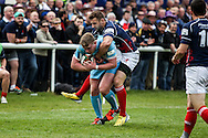 Mike Doneghan makes a tackle during the Green King IPA Championship Play-Off match between London Scottish &amp; Worcester at Richmond, Greater London on Saturday 2nd May 2015<br /> <br /> Photo: Ken Sparks | UK Sports Pics Ltd<br /> London Scottish v Worcester, Green King IPA Championship, 2nd May 2015<br /> <br /> &copy; UK Sports Pics Ltd. FA Accredited. Football League Licence No:  FL14/15/P5700.Football Conference Licence No: PCONF 051/14 Tel +44(0)7968 045353. email ken@uksportspics.co.uk, 7 Leslie Park Road, East Croydon, Surrey CR0 6TN. Credit UK Sports Pics Ltd