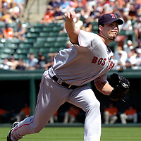 09 September 2007:  Boston Red Sox pitcher Josh Beckett (19) pitches in the 1st inning against the Baltimore Orioles.  Beckett won his 18th game of the year, going seven innings and striking out 8 as the Red Sox defeated the Orioles 3-2 at Camden Yards in Baltimore, MD.  ****For Editorial Use Only****