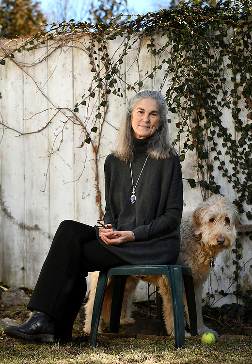 Mara Lavitt -- Special to the Hartford Courant<br /> February 2, 2016<br /> Poet Margaret Gibson of Preston photographed in Stonington with her dog Mitch.