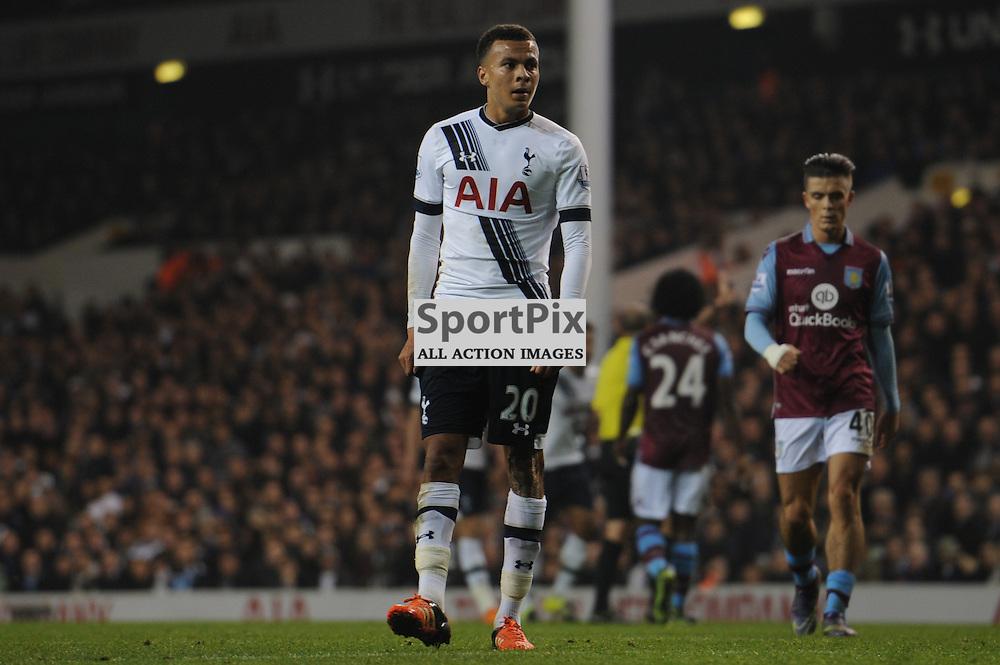 Tottenhams second goalscorer, Dele Alli, in action during the Tottenham v Aston Villa match in the Barclays Premier League on the 2nd November 2015