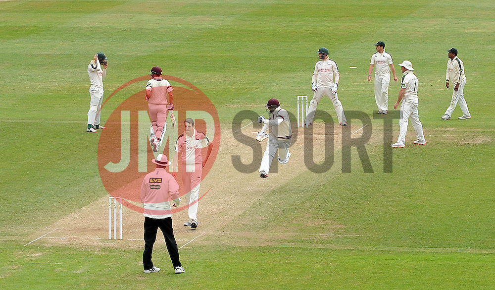 Somerset's Abdur Rehman jumps for joy after scoring the winning runs. - Photo mandatory by-line: Harry Trump/JMP - Mobile: 07966 386802 - 17/06/15 - SPORT - CRICKET - LVCC County Championship - Division One - Day Four - Somerset v Nottinghamshire - The County Ground, Taunton, England.