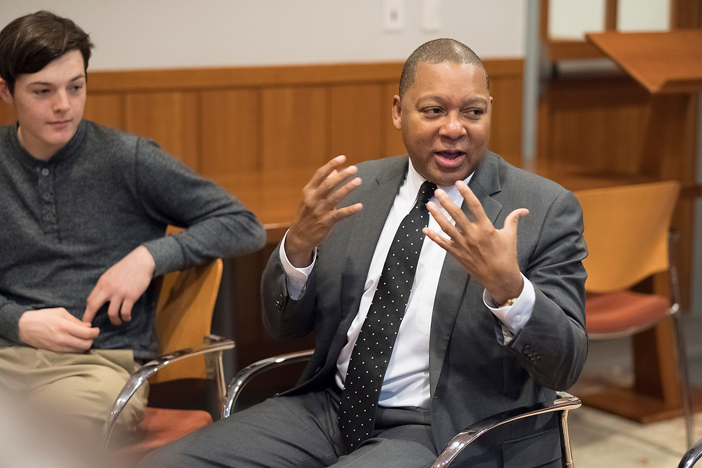 Jazz great Wynton Marsalis visits with Joseph Conyers and members of Project 440, an organization of elite high school musicians, at the Curtis Institute of Music in Philadelphia PA. <br /> &copy; 2017 Ed Hille