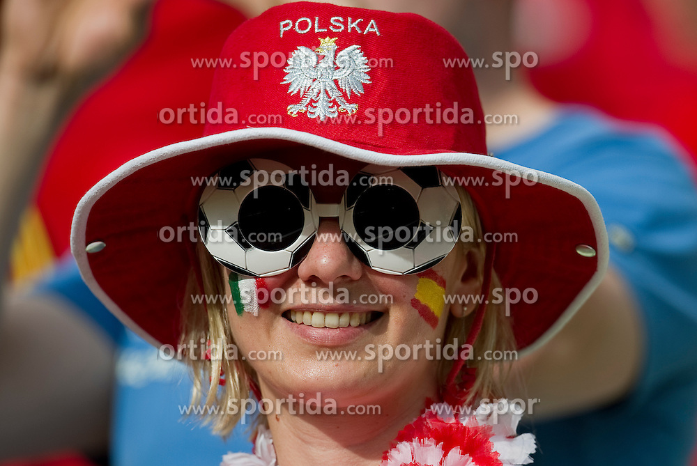 Poland's supporters during their the UEFA EURO 2012 Group C football match between Spain and Italy at Gdansk Arena in Gdansk on June 10, 2012...Poland, Gdansk, June 10, 2012..Picture also available in RAW (NEF) or TIFF format on special request...For editorial use only. Any commercial or promotional use requires permission...Photo by © Adam Nurkiewicz / Mediasport
