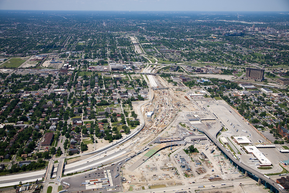 Construction along I 96 and I 75 south of downtown. Michigan Central Station to the right.