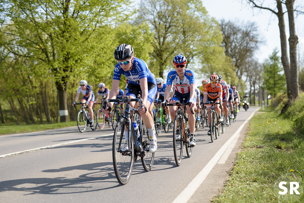 Megan Guarnier keeps tight to Tetyana Riabchenko with one lap to go on Stage 2 of Festival Elsy Jacobs 2017. A 111.1 km road race on April 30th 2017, starting and finishing in Garnich, Luxembourg. (Photo by Sean Robinson/Velofocus)