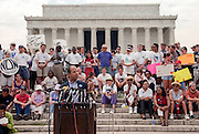 Washington Mayor Anthony Williams speaks to the crowd at a civil rights Respect Rally in front of the Lincoln Memorial August 7, 1999 in Washington, DC.
