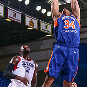 Westchester Knicks Guard PRINCETON ONWAS (34) dunks the ball in the first half of a NBA G-league regular season basketball game between the Delaware 87ers and the Westchester Knicks (New York Knicks) Tuesday, Nov. 07, 2017, at The Bob Carpenter Sports Convocation Center in Newark, DEL