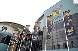 A general view of Wasps branding on the exterior of their new home ground the Ricoh Arena - Photo mandatory by-line: Patrick Khachfe/JMP - Mobile: 07966 386802 21/12/2014 - SPORT - RUGBY UNION - Coventry - Ricoh Arena - Wasps v London Irish - Aviva Premiership