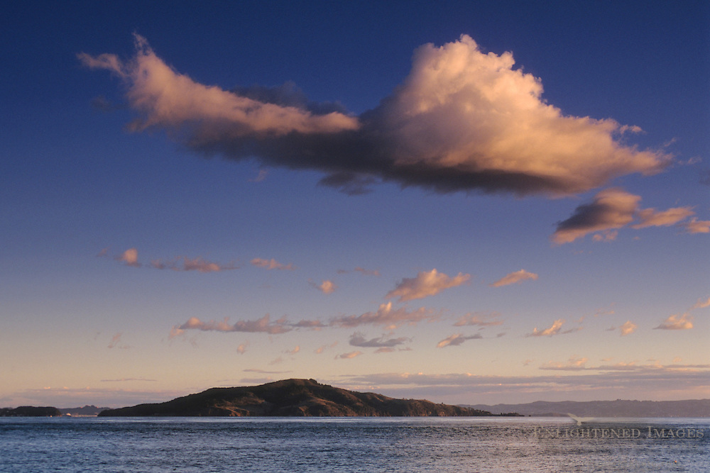 Cloud over Angel Island and San Francisco Bay, California