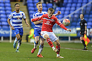 Walsall FC defender Jason Demetriou under pressure from Reading FC defender Paul McShane during the The FA Cup fourth round match between Reading and Walsall at the Madejski Stadium, Reading, England on 30 January 2016. Photo by Mark Davies.