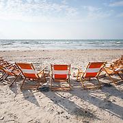 Row of Beach Chairs in Port Aransas, Texas