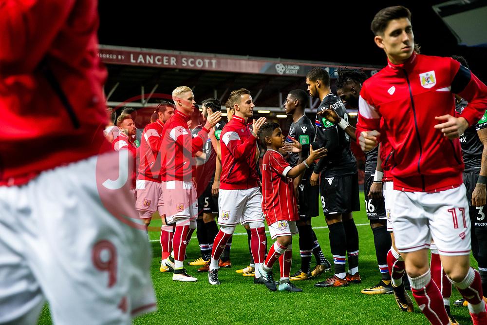 Mascot hand shakes - Rogan/JMP - 24/10/2017 - Ashton Gate Stadium - Bristol, England - Bristol City v Crystal Palace - Carabao Cup Round of 16.