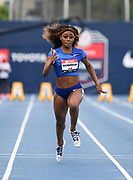Jul 25, 2019; Des Moines, IA, USA; Sha'Carri Richardson places second in women's 100m heat in 11.41 to advance during the USATF Championships at Drake Stadium.