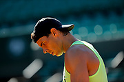 Rafael Nadal (ESP) at afternoon practice on Philippe Chatrier tennis stadium during the Roland Garros French Tennis Open 2017, preview, on May ......, 2017, at the Roland Garros Stadium in Paris, France - Photo Stephane Allaman / ProSportsImages / DPPI