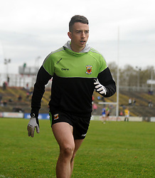 Mayo's Evan Regan warming up McHale Park during the National football league encounter against Kerry. Pic Conor McKeown