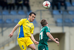 Luka Volaric of NK Domzale vs Marko Puklin of Krka during football match between NK Domzale and NK Krka in Semifinal of Slovenian Football Cup 2016/17, on April 4, 2017 in Sports park Domzale, Slovenia. Photo by Vid Ponikvar / Sportida