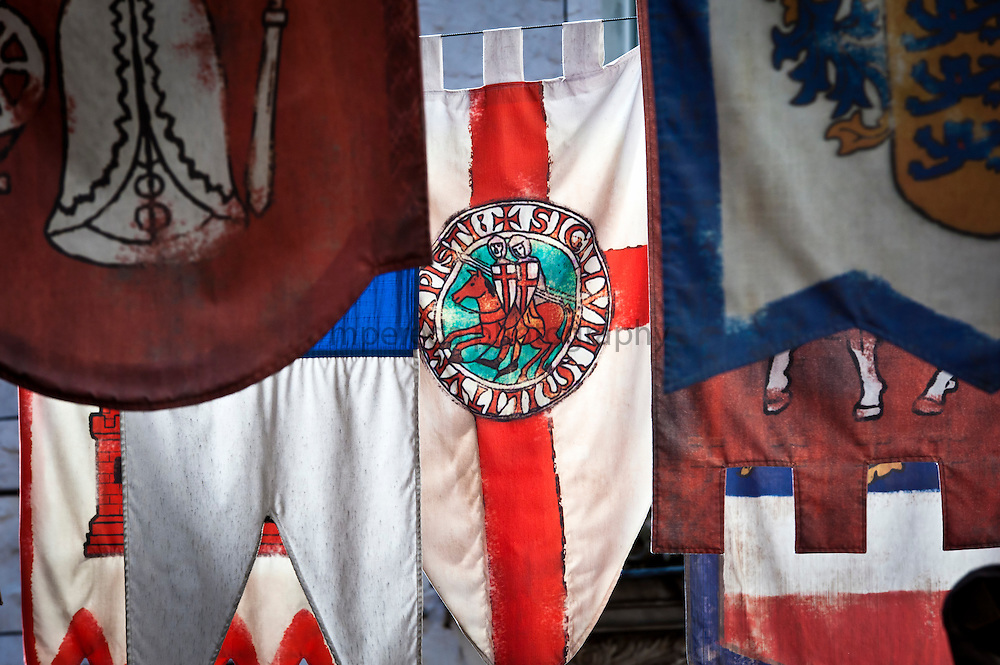 Medieval banners in the streets of Riga