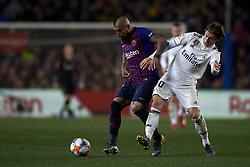 February 6, 2019 - Barcelona, Barcelona, Spain - Arturo Vidal of Barcelona and Luka Modric of Real Madrid competes for the ball during the Spanish Cup (King's cup), first leg semi-final match between FC Barcelona and  Real Madrid at Camp Nou stadium on February 6, 2019 in Barcelona, Spain. (Credit Image: © Jose Breton/NurPhoto via ZUMA Press)