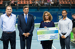 Borut Pahor, president of Slovenia, Marko Umberger, president of Tenis Slovenija, Anita Ogulin of Zveza prijateljev mladine and Aljaz Kos, tournament director during the Trophy ceremony after the Final Singles match at Day 9 of ATP Challenger Zavarovalnica Sava Slovenia Open 2018, on August 11, 2018 in Sports centre, Portoroz/Portorose, Slovenia. Photo by Vid Ponikvar / Sportida