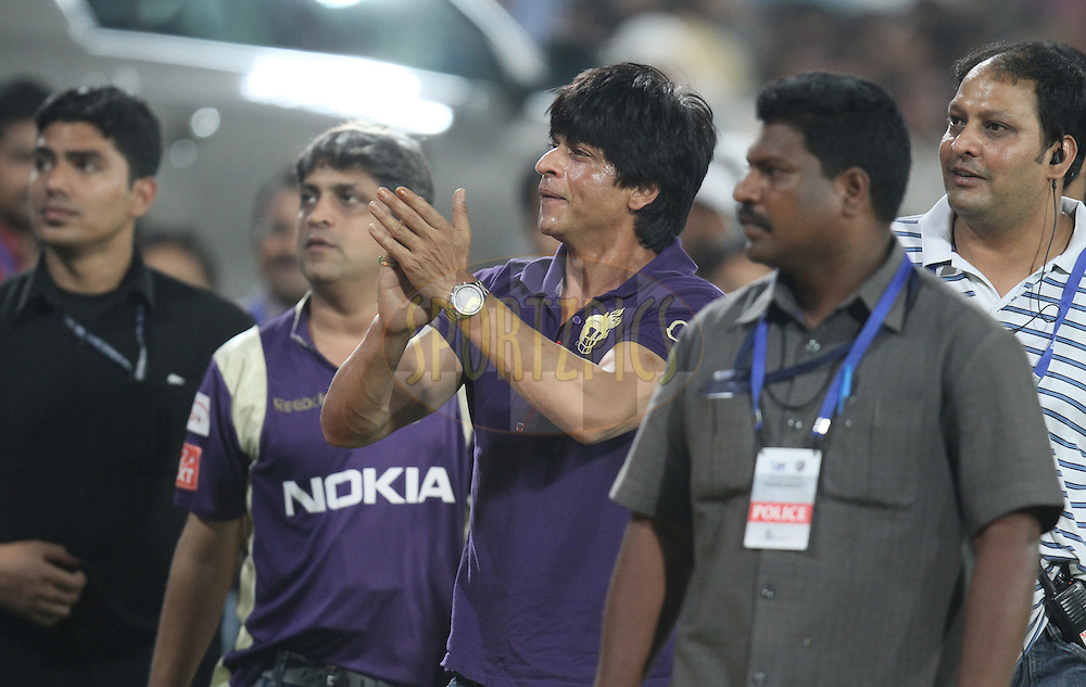 Shah Rukh Khan, co-owner of Kolkata Knight Riders waves to spectators after the  match 42 of the Indian Premier League ( IPL ) between the Deccan Chargers and the Kolkata Knight Riders held at the Rajiv Gandhi International Cricket Stadium in Hyderabad on the 3rd May 2011.Photo by Parth Sanyal/BCCI/SPORTZPICS
