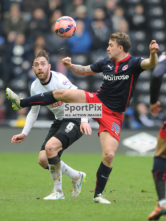 Readings Simon Cox Battles with Derbys Richard Keoghi, Derby County v Reading, FA Cup, Pride Park Saturday 14th Febuary 2015
