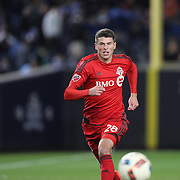 NEW YORK, NEW YORK - November 06: Mark Bloom #28 of Toronto FC in action during the NYCFC Vs Toronto FC MLS playoff game at Yankee Stadium on November 06, 2016 in New York City. (Photo by Tim Clayton/Corbis via Getty Images)
